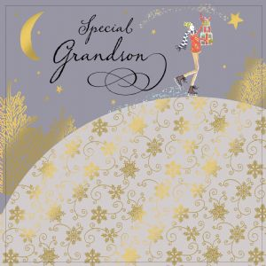 Grandson Christmas Card with Gold Foiling, Contemporary Design and Red Envelope KIS23